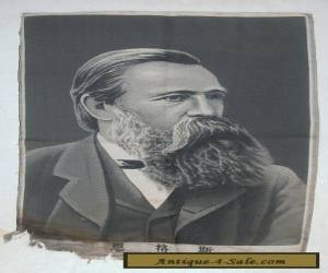 """19c ANTIQUE CHINESE SILK EMBROIDERY OF FRIEDRICH ENGELS """"AS IS"""" for Sale"""