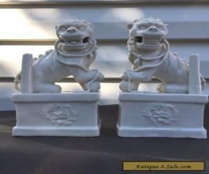 Two Vintage Art Deco White porcelain Foo Dogs for Sale