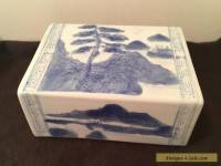 Antique Chinese Blue & White Porcelain OPIUM PILLOW Headrest -- 6.5""