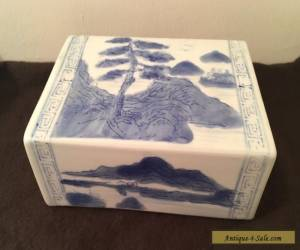 "Antique Chinese Blue & White Porcelain OPIUM PILLOW Headrest -- 6.5"" for Sale"