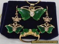 BEAUTFUL GREEN JADE BUTTERFLY EARRINGS RINIG NECKLACE SETS