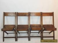 Vintage Antique Wood Oak Wooden Folding Chairs Set of 4
