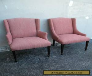 Pair of Mid Century Side by Side Wing Chairs 1888 for Sale