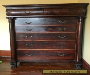 ANTIQUE 2ND SECOND EMPIRE CARVED CHEST DRAWERS FLAME MAHOGANY DRESSER VICTORIAN for Sale
