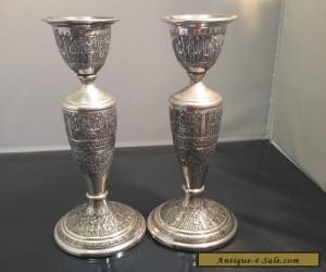 Beautiful antique Persian Pair of silver Candlesticks for Sale