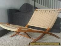 Danish Modern Folding Rope Chair Vintage Hans Wegner Style Mid Century