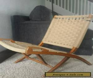 Danish Modern Folding Rope Chair Vintage Hans Wegner Style Mid Century for Sale