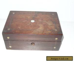 ANTIQUE MAHOGANY INLAID MOP BOX FOR RESTORATION for Sale