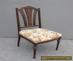 ANTIQUE  VICTORIAN CARVED WOOD CHAIR TAPESTRY STYLE ACCENT  for Sale