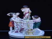 SUPERB ANTIQUE CAPODIMONTE FIGURAL GROUP THREE ROMAN FIGURES AND CHERUB BOY