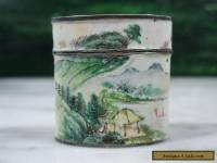 ANTIQUE 18TH CENT CHINESE QIANLONG PERIOD SCENIC PAINTED ENAMEL SILVER OPIUM BOX