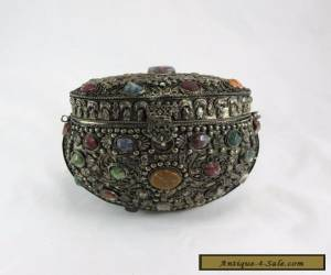Antique Chinese Filigree Silver Purse With  Gemstones for Sale