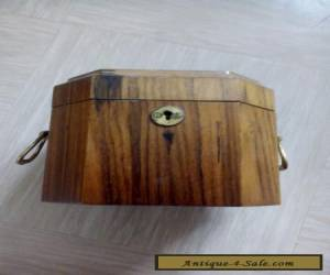 vintage wooden box with brass handles tea caddy? for Sale