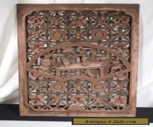 """Antique Chinese Carved Wood Panel 24"""" x 16"""" for Sale"""