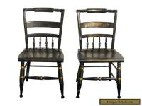 Pair of Vintage Hitchcock Style Black Side Chairs