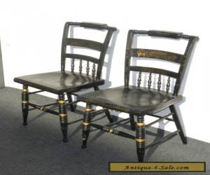Item Pair of Vintage Hitchcock Style Black Side Chairs for Sale
