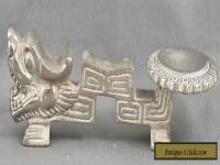 Vintage Heavy Chinese Nickel Silver Dragon Spoon Rest Circa 1950s