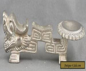 Vintage Heavy Chinese Nickel Silver Dragon Spoon Rest Circa 1950s for Sale
