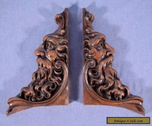 *Pair of French Antique Solid Highly Carved Walnut Wood Brackets with Faces for Sale