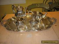 ANTIQUE SILVER PLATE REPOUSSE HEIRLO0M MELON 5pc TEA COFFEE SVC SET With Tray