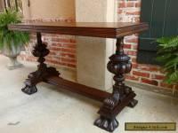 Antique English Carved Mahogany Hall Sofa Table Desk Victorian
