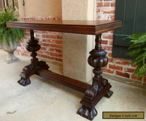 Antique English Carved Mahogany Hall Sofa Table Desk Victorian for Sale