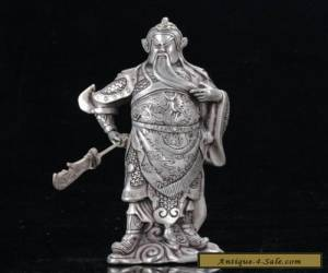 Old Chinese cupronickel  Hand Carved Guan Yu Statue W Qianlong Mark  for Sale