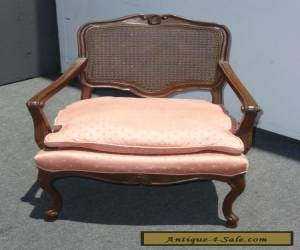 Vintage French Provincial Cane Back Pink ARM CHAIR Wood Carved Frame for Sale