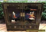 CHINESE BLACK LACQUER HARDSTONE CABINET SIDE TABLE for Sale