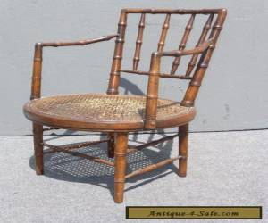 Vintage Mid-Century BAMBOO STYLE Wood & Cane SIDE ACCENT CHAIR  for Sale