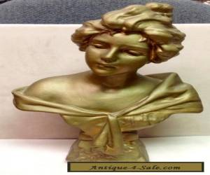 ANTIQUE ART NOUVEAU Chalkware Lady Bust CARMELA for Sale