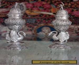 RARE SET OF LARGE ANTIQUE GERMAN STERLING SILVER SALT AND PEPPER SHAKER for Sale