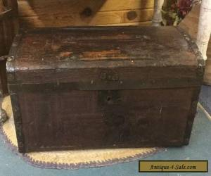 PrimitiVe Wood Trunk Slat Top With Tray Antique for Sale
