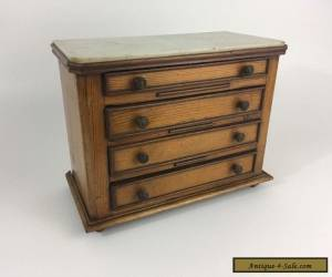 Antique 19th c. Pine & Marble Top Miniature French Chest for Sale
