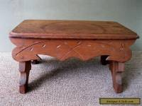 """Antique Foot Stool Victorian Style 15"""" Footstool, Walnut Wood, Etched Decorated"""
