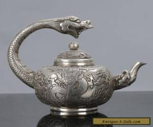 Old Chinese Tibet Silver Handwork Dragon Handle Teapot W Qianlong Mark C575 for Sale