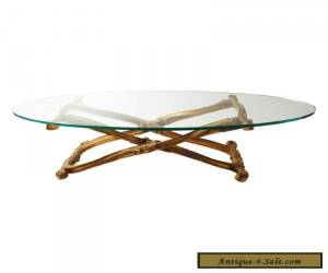 Vintage GOLD COFFEE TABLE glass Hollywood Regency wood mid century modern 60s for Sale