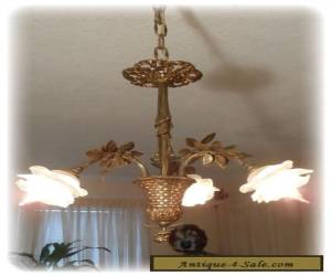 Vintage Unique French Bronze Basket Chandelier With Glass Flowers Shades for Sale