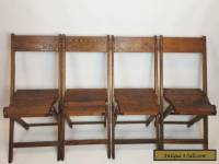Vintage Antique Wood Oak Wooden Folding Chairs Set of 4