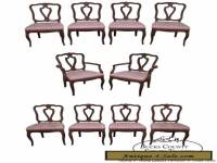 Vintage Set of 10 Solid Walnut French Country Style Dining Chairs