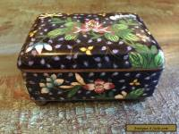 Beautiful Chinese Antique Flowers Enamel Cloisonne Box Black China