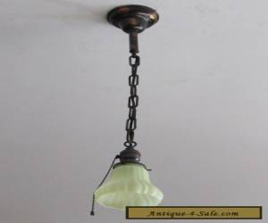 Gorgeous Antique Japanned Light Fixture with Vaseline Shade Completely Restored! for Sale