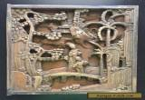 Fine Old Vintage Antique Chinese Carved Figural Opium Panel Wall Art Square #2 for Sale