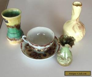 3 x ANTIQUE / VINTAGE VASES & ONE ANTIQUE CUP & SAUCER - ENGLISH - ENGLAND for Sale