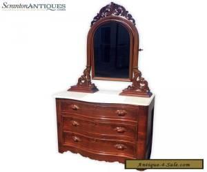 Antique Eastlake Victorian Furniture Carved Walnut Marble Top Dresser w/ Mirror for Sale
