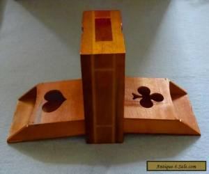 Vintage Wooden Treen Inlayed Playing Card Box for Sale