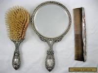Vintage Gorham Sterling Silver Vanity Dresser Set Mirror Brush Comb