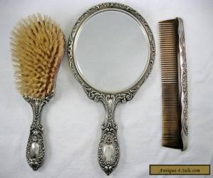 Vintage Gorham Sterling Silver Vanity Dresser Set Mirror Brush Comb for Sale