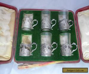 Six Cased Victorian Silver & Glass Tea Holders Thomas Glaser 1891 for Sale
