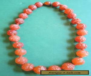 Antique Chinese Carved Carnelian Necklace for Sale
